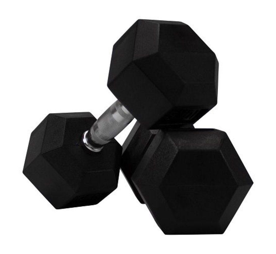 Hex rubber dumbbell set 22 - 30kg 5 pairs