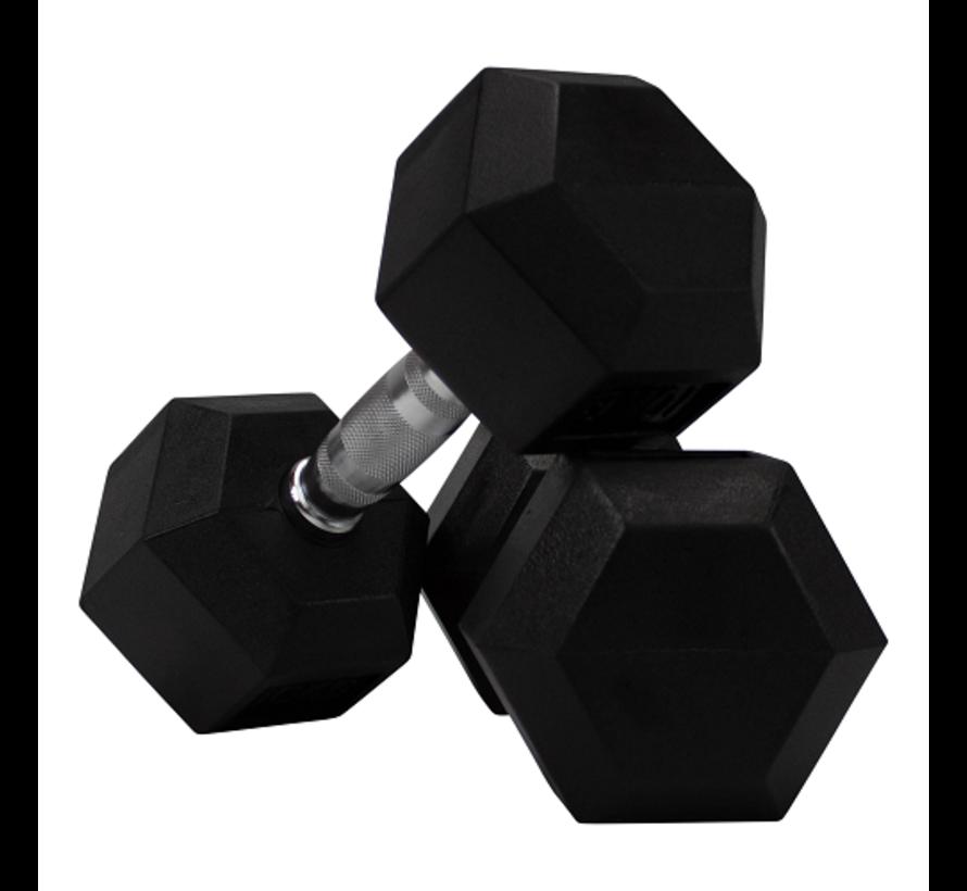 Haltères Hexagonaux caoutchouc 1 - 25kg 16 paires + rack