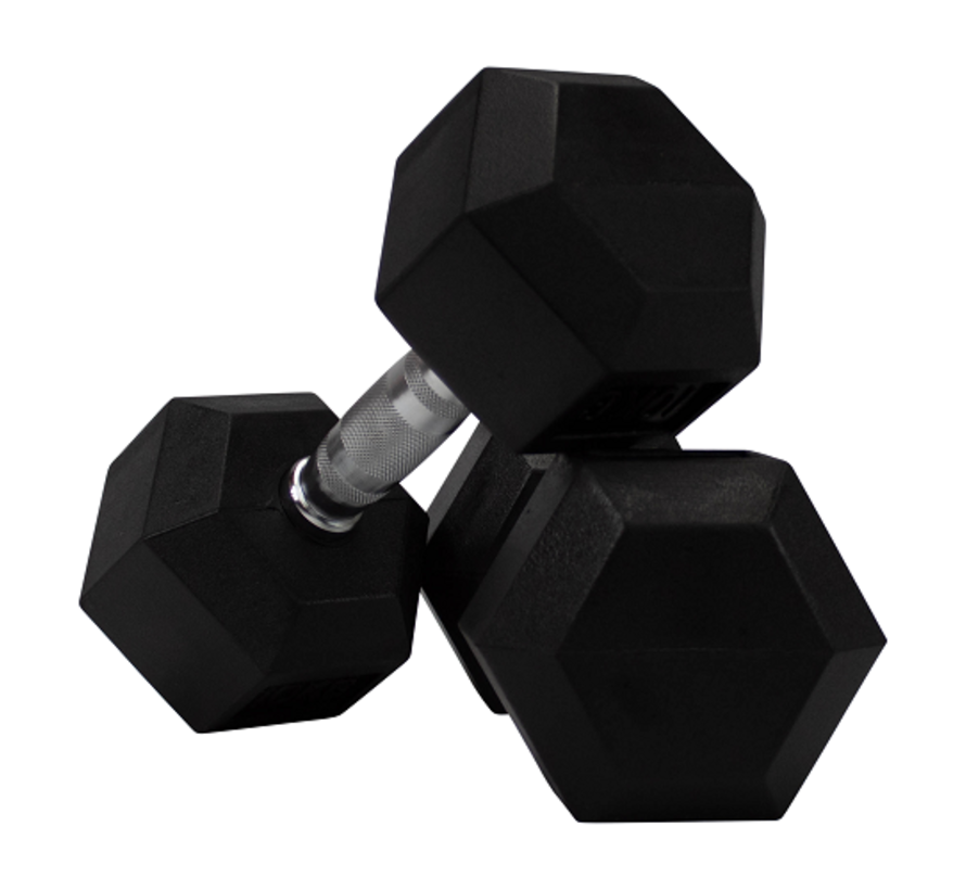 Hex rubber dumbbell set 5 - 20kg 7 pairs + rack