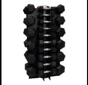 Fitribution Hex rubber dumbbell set 1 - 25kg 16 paar + rek