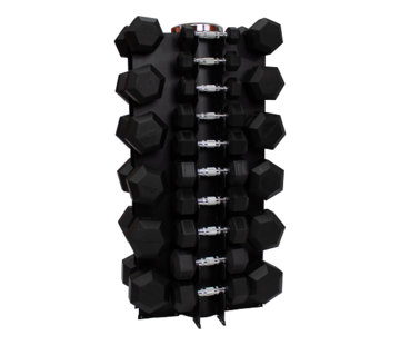 Fitribution Hex rubber dumbbell set 1 - 25kg 16 pairs + rack
