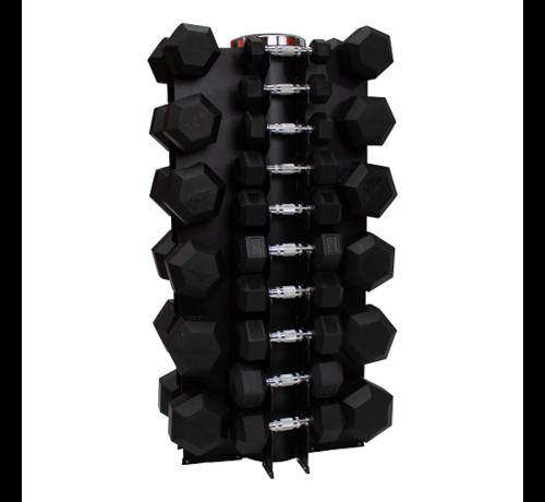 Fitribution Haltères Hexagonaux caoutchouc 1 - 25kg 16 paires + rack