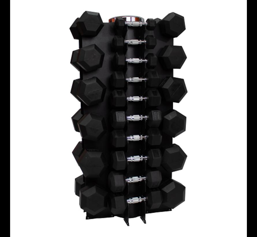 Hex rubber dumbbell set 1 - 25kg 16 pairs + rack