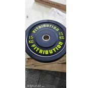 Fitribution 15kg disque bumper plate caoutchouc 50mm