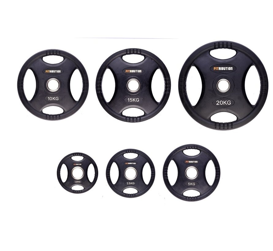 Set 1,25/2,5/5/10/15/20kg weight plate HQ rubber with grips 50mm
