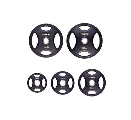 Fitribution Serie 1,25/2,5/5/10/15kg Disco De Peso HQ Caucho Con Agarraderas 50mm