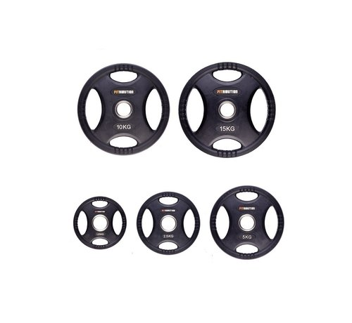 Fitribution Set 1,25/2,5/5/10/15kg weight plate HQ rubber with grips 50mm