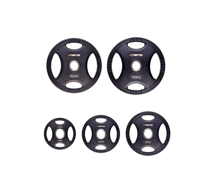Set 1,25/2,5/5/10/15kg schijf HQ rubber met handgrepen 50mm