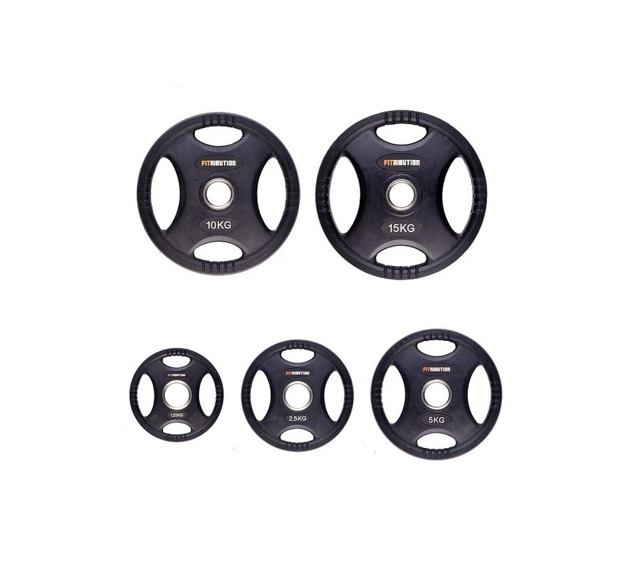 Set 1,25/2,5/5/10/15kg weight plate HQ rubber with grips 50mm