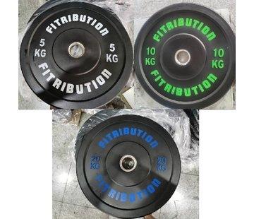 Fitribution Set 5/10/20kg bumper plate rubber 50mm