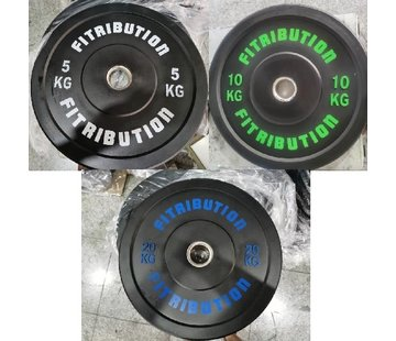 Fitribution Set 5/10/20kg schijf bumper plate rubber 50mm