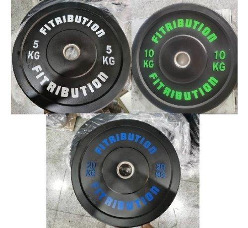 Fitribution Série 5/10/20kg disque bumper plate caoutchouc 50mm
