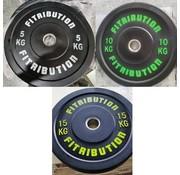 Fitribution Série 5/10/15kg disque bumper plate caoutchouc 50mm