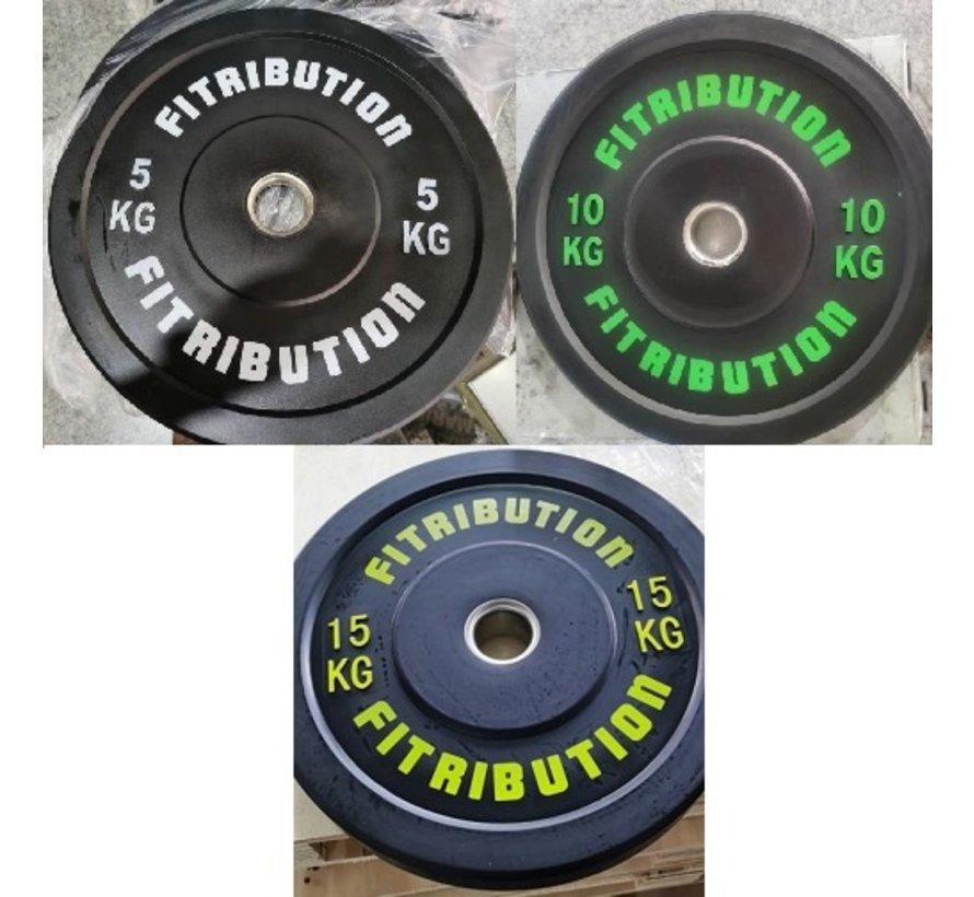 Set 5/10/15kg bumper plate rubber 50mm