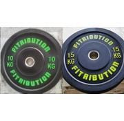 Fitribution Série 10/15kg disque bumper plate caoutchouc 50mm