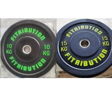 Fitribution Serie 10/15kg Disco De Parachoques De Caucho 50mm