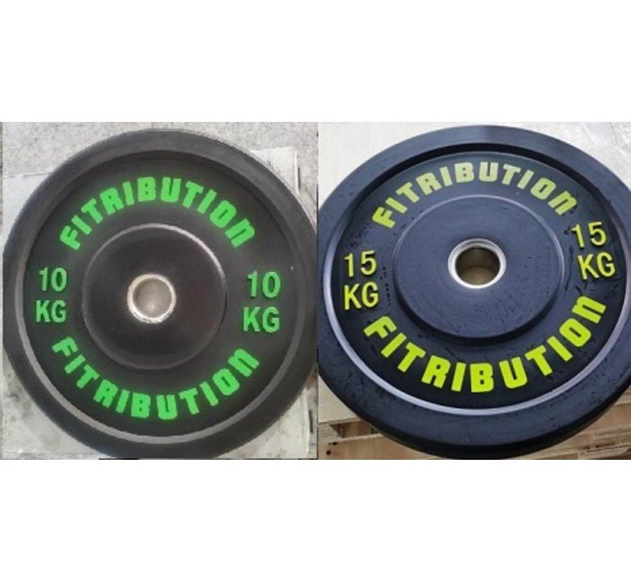 Set 10/15kg schijf bumper plate rubber 50mm