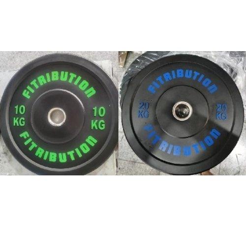 Fitribution Serie 10/20kg Disco De Parachoques De Caucho 50mm