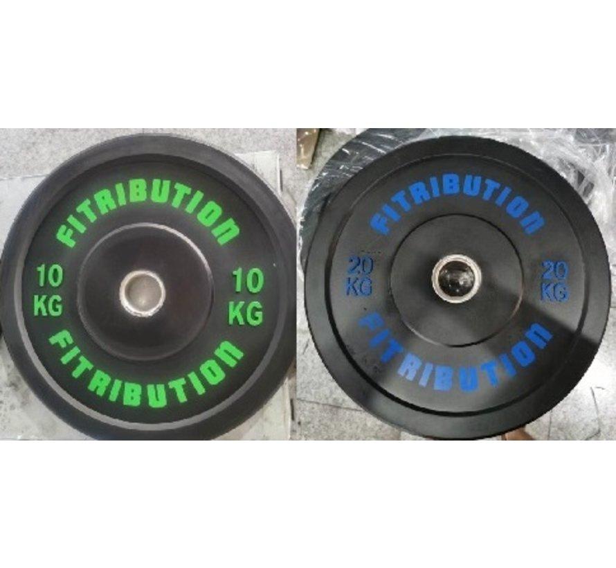 Set 10/20kg schijf bumper plate rubber 50mm