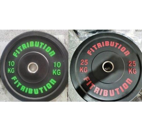Fitribution Série 10/25kg disque bumper plate caoutchouc 50mm