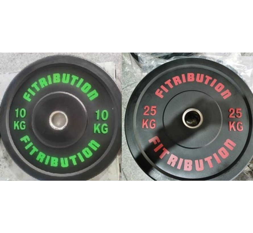 Set 10/25kg schijf bumper plate rubber 50mm