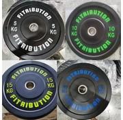 Fitribution Série 5/10/15/20kg disque bumper plate caoutchouc 50mm