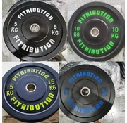 Fitribution Set 5/10/15/20kg schijf bumper plate rubber 50mm