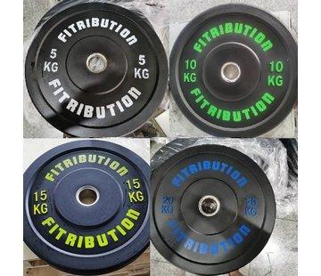Fitribution Set 5/10/15/20kg schijf bumper plate rubber 50mm