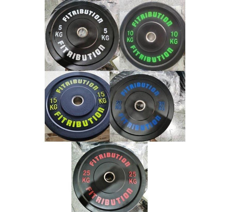 Série 5/10/15/20/25kg disque bumper plate caoutchouc 50mm