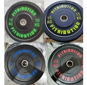 Fitribution Série 10/15/20/25kg disque bumper plate caoutchouc 50mm