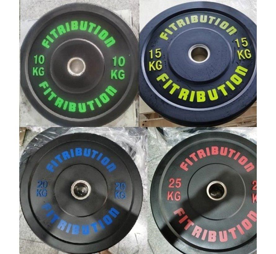 Set 10/15/20/25kg schijf bumper plate rubber 50mm