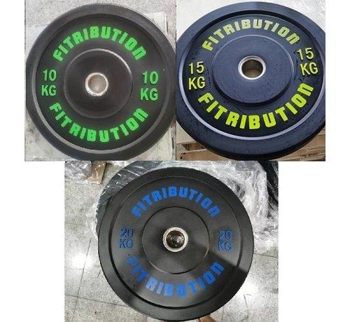 Fitribution Set 10/15/20kg schijf bumper plate rubber 50mm