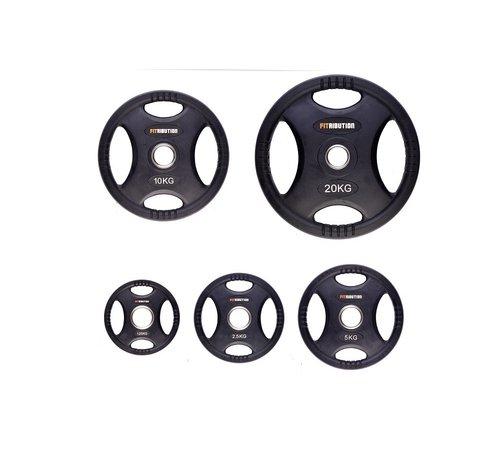 Fitribution Set 1,25/2,5/5/10/20kg schijf HQ rubber met handgrepen 50mm