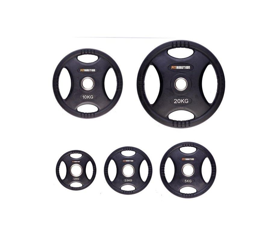 Set 1,25/2,5/5/10/20kg schijf HQ rubber met handgrepen 50mm