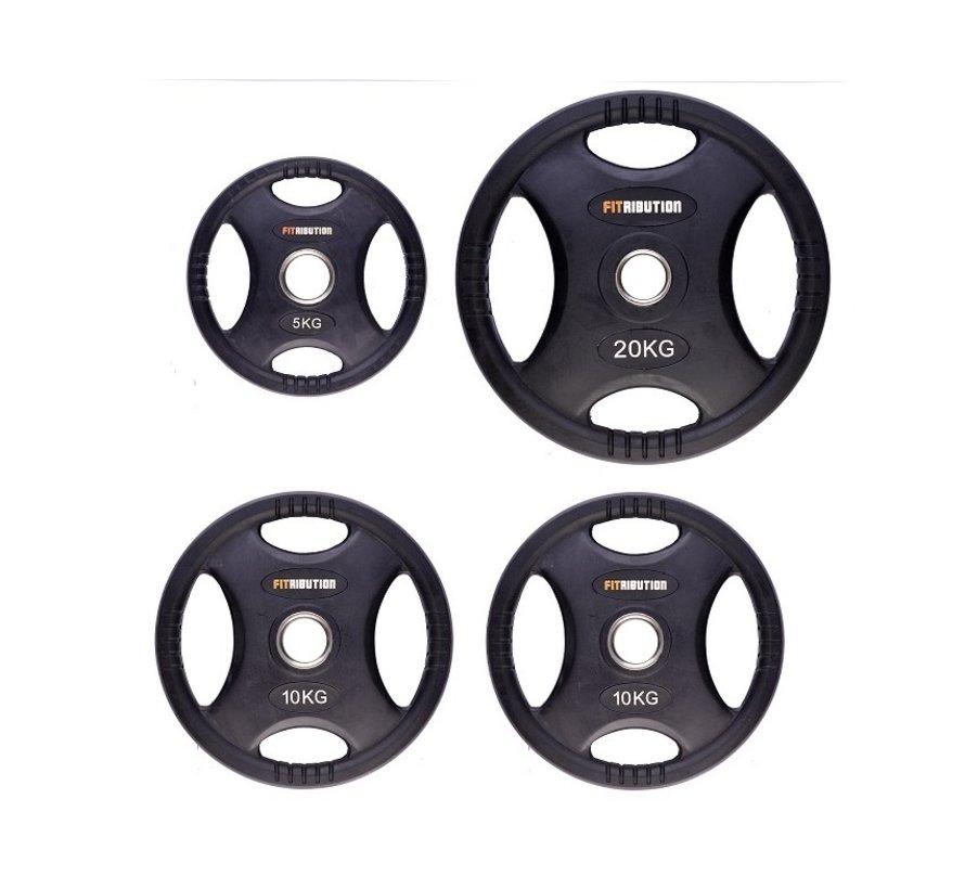 Set 5/10/10/20kg schijf HQ rubber met handgrepen 50mm