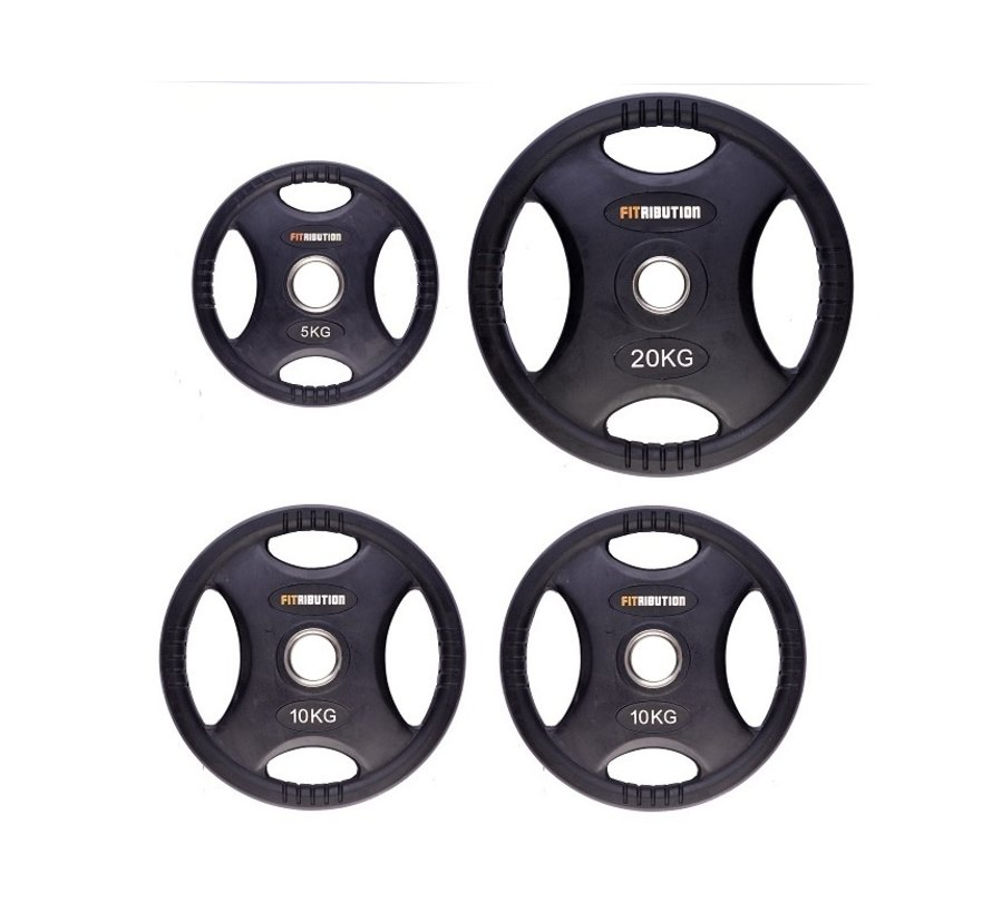 Set 5/10/10/20kg weight plate HQ rubber with grips 50mm