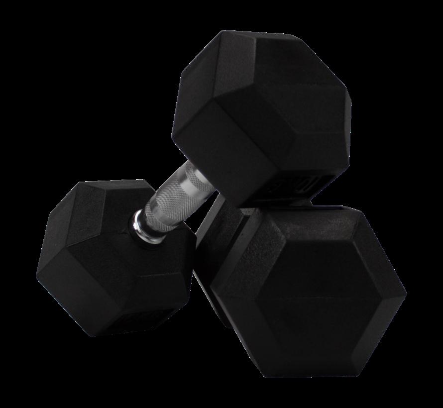 Hex rubber dumbbells 22,5kg (1 pair)