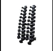Fitribution Hex rubber dumbbell set 1 - 10kg plus tower