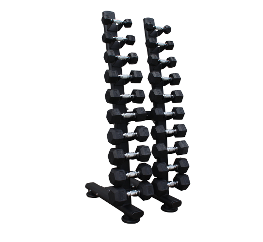 Hex rubber dumbbell set 1 - 10kg plus tower