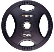 Fitribution 25kg schijf HQ rubber met handgrepen 50mm