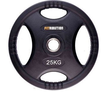 Fitribution 25kg weight plate HQ rubber with grips 50mm