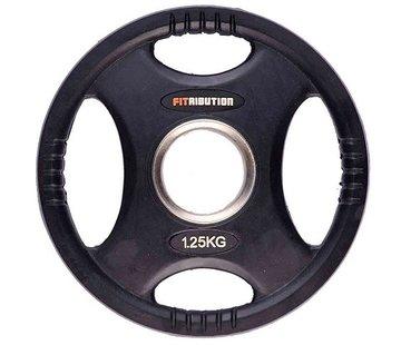 Fitribution 1,25kg schijf HQ rubber met handgrepen 50mm