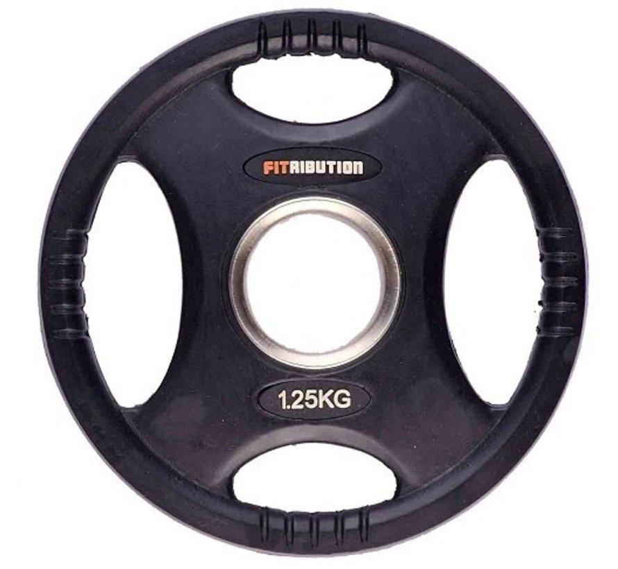 1,25kg schijf HQ rubber met handgrepen 50mm