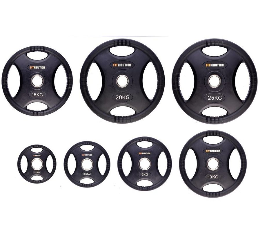 1,25kg weight plate HQ rubber with grips 50mm