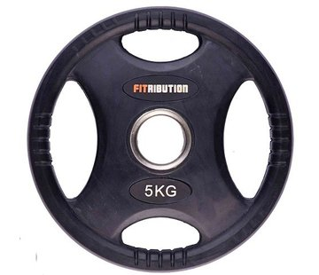 Fitribution 5kg weight plate HQ rubber with grips 50mm