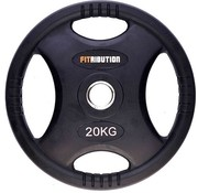 Fitribution 20kg weight plate HQ rubber with grips 50mm