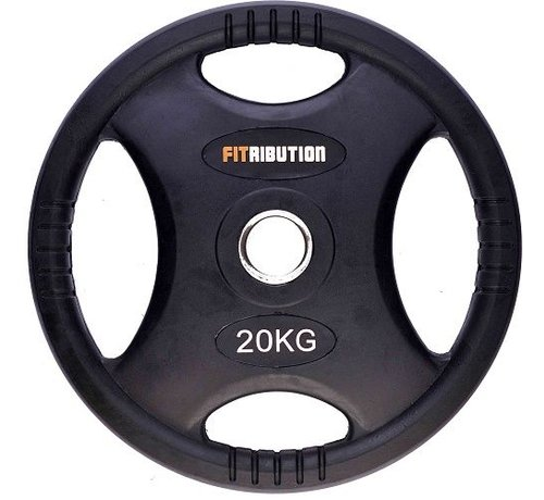 Fitribution 20kg disco de peso HQ caucho con agarraderas 50mm