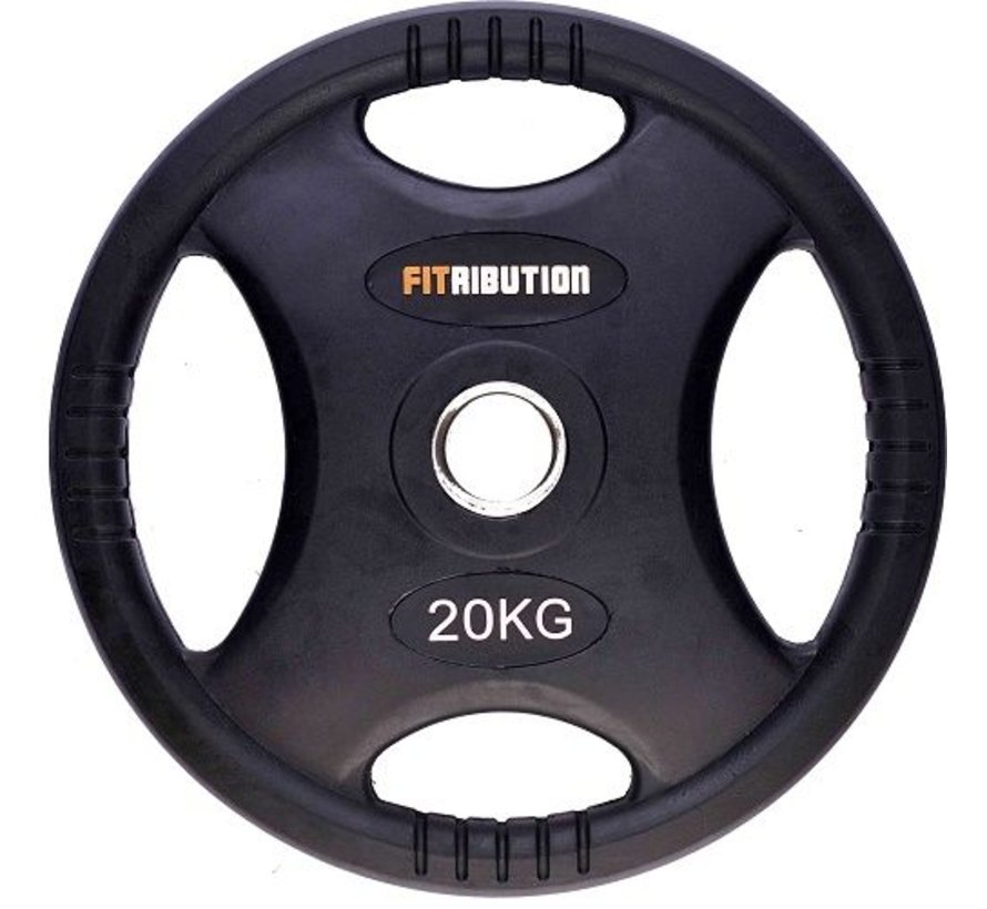 20kg weight plate HQ rubber with grips 50mm