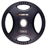Fitribution 15kg weight plate HQ rubber with grips 50mm