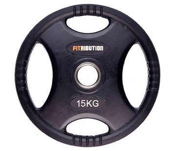 Fitribution 15kg schijf HQ rubber met handgrepen 50mm